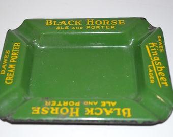 Vintage enamel beer ashtray Dawes Black Horse Ale - Porter Kingsbeer Lager green