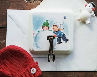 Child's Decorative Wall Hook, Hook Made From a Vintage Children's Book Illustration, Winter Snow Wall Hanger,Retro  Kids Clothes Hanger