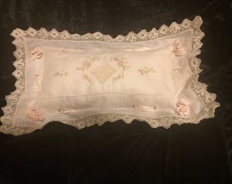 Embroidered Ribbon boudoir pillow with crocheted edge (FFs1186)