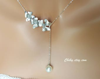 Wedding Bridal Jewelry, Elegant Orchid Flower and cute Pearl, Lariat & Y Necklace - Sterling Silver, Bridesmaids gifts, Pearl Necklace