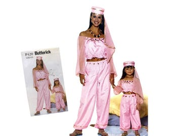 Misses Belly Dancer Costume Pattern Girls Genie Costume Mother Daughter Halloween Costume Butterick P420 Sewing Pattern Harem Costume 2000