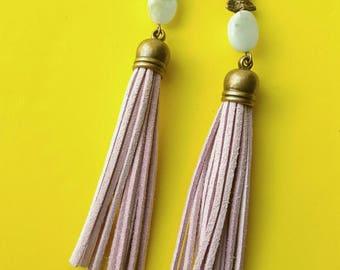 Light purple  leather tassel earrings- bohemian earrings- turquoise- boho gypsy dangle earrings-The Amali