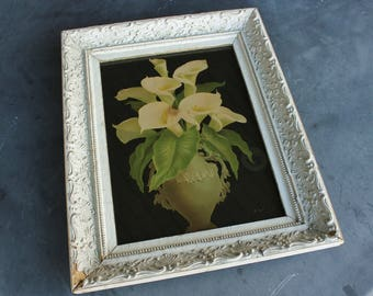 Antique Chromolithograph Print of White Calla Lillies in White Gesso Frame