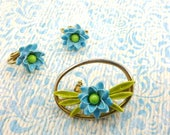 Pretty and Petite Blue Enamel Brooch and Clip earrings Youth Petite Mid Century Modern