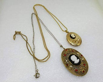Two Cameo Lockets  Necklaces Opening one signed Czech