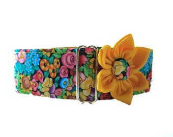 2 Inch Martingale Collar with Matching Dog Collar Flower, Floral Martingale Collar, Floral Dog Collar, Dog Collar and Flower