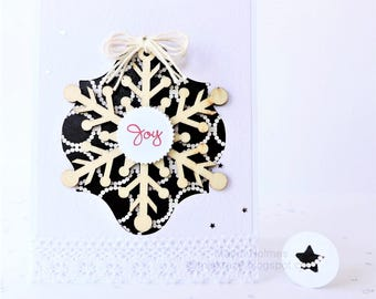 Holiday Card - Black - White - Damask Embossed - Clean and Simple - Wooden Snowflake - Joy Card with Matching Envelope Seal