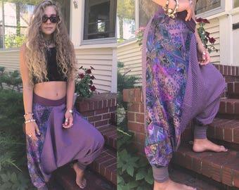 Patchwork Harem Pants, Size S/M, hippy pants, eco pants, yoga pants, flow pants, festival pants,abstract pants,plaid pants, zen pants, zasra