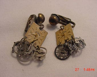 Vintage Elgin Watch Parts Steampunk Clip On Dangle Earrings  18 - 446