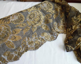 """Antique Metallic Gold and Black Tulle Mesh Scarf Scalloped  Edges 12"""" X 58"""""""