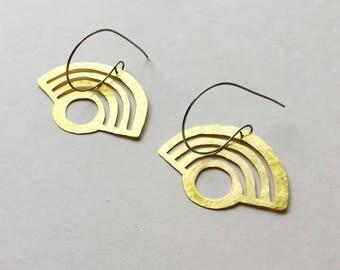 bauhaus earrings, signal hoop earrings, Art Deco earrings, hammered brass rainbow earrings