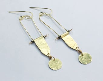 Modern hammered brass statement earrings, hammered metal jewelry, Architectural earrings