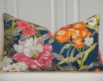 BOTH SIDES Floral Decorative Pillow Cover - Red - Pink - White - Blue - Green Accent Pillow - Toss Pillow