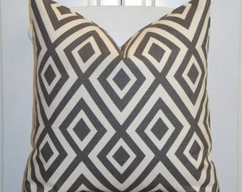 BOTH SIDES - Decorative Pillow Cover - Graphite - Grey - Geometric - Lattice - Diamong Design Toss Pillow - Cushion Cover