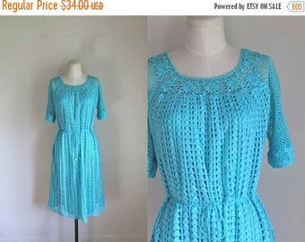 20% off SALE 50 Percent OFF...last call // vintage 1970s crochet dress - HACIENDA Sky blue boho dress / L