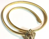 80s ANN KLEIN Vintage Gold Mesh Lion Head Belt Hook Metal Snake Stretchy Band Necklace