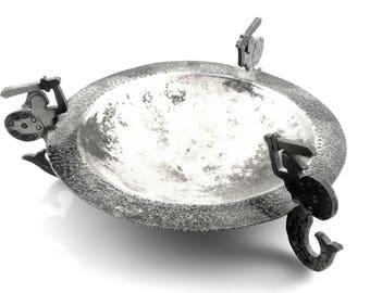 RARE Vintage 1980s 90s ORNO Poland Handmade Modernist 800 Silver Warrior Mermaids Hammered Coin DISH