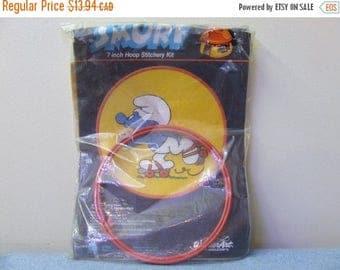 50% OFF Smurfs Embroidery Kit - Peyo Made in USA Rollerskating Crewel Retro Vintage Kit