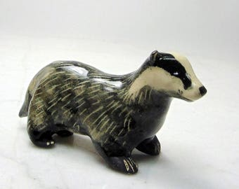 European Badger - Ceramic Figurine - Badger Sculpture - Pottery Animal - Black and White - Forrest Animal - Clay Badger - Badger Mascot