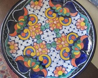 Talavera Hanging Plate, Puebla, Mexico Plate, Signed Amaro