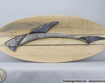 Raku Fired Ceramic Fish on Reclaimed Wood