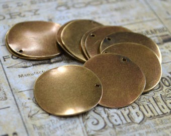 10pcs Coin Charms Drops Antiqued Gold Plated 26mm Flat Round Stamping