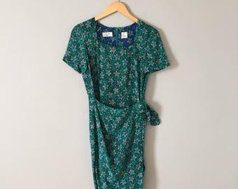 BLUE STARFISH silk mini dress | geometric print dress | wrap belted mini skirt dress