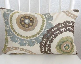 12x18 Taraz Spring Suzani Medallion Lumbar Pillow Cover