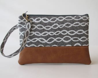 Wristlet, Clutch, Modern Grey iPhone wallet, Vegan Leather Clutch Purse, Cellphone Wristlet, Bridesmaid Gift, Gift for Her