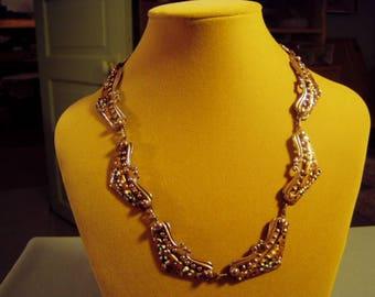 Vintage 1950s Matisse Renoir Copper Enamel Venezia Link Necklace 9317
