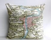SALE SALE SALE City map Prague/  vintage map Cushion cover /map pillow cushion Prague / Organic cotton /  16x16 / 41cm x 41cm