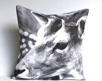 SALE SALE SALE Animal cushion monochrome deer, Deer cushion, 40cm cushion organic cotton  cushion cover, pillow, 16x16 inch pillow