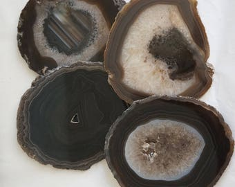 AGATE Slab Coaster Set 4 Natural Black Brown White Crystal Geode Stone Slice Drink Rest Housewarming Hostess Wedding Christmas New Year Gift