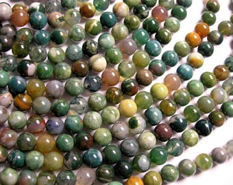Bloodstone - 8mm round beads - full strand - 49 beads - Matrix bloodstone - A quality - RFG1351