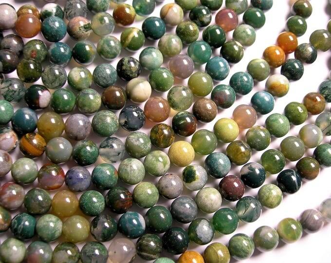 Bloodstone - 8mm round beads - full strand - 49 beads - Matrix bloodstone - A quality - RFG1351