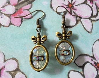 Clear Crystal Earrings with Brass Bows (3756)