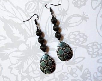 Teal and Black Snakeskin Dangle Earrings (3806)