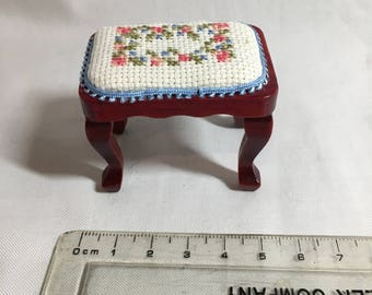 Handmade Dollshouse Miniatures - Embroidery Stool