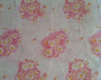 Over 3.5 Yard of Floral Cotton Fabric, Quilting Fabric, Fabric Destash Sale, Any Occasion Fabric, Daisy Flowers Cotton Fabric,Tote Fabric