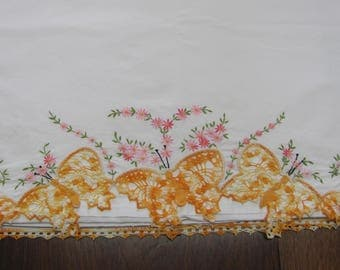 Vintage JC Penneys Hand Embroidered and Crocheted Butterflies Full Flat Cotton Bed Sheet