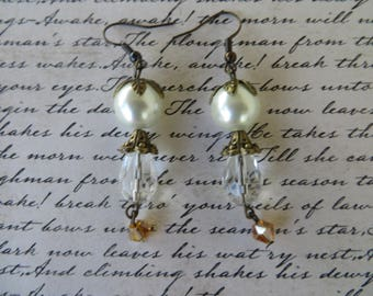 Vintage Style Antique Gold Toned Accents Crystal Drop Earrings