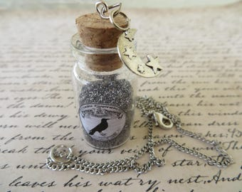 Apothecary Jar Of Moondust With With Moon And Stars Charm Necklace