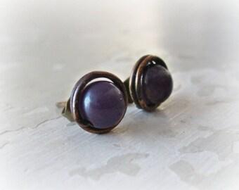 Brass Stud Earrings, Amethyst Studs, Stone Stud Earrings, Patina Stud Earrings, Raw Brass Studs, Oxidized Stud Earrings, Amethyst Earrings
