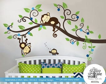 Jungle Monkey Wall Decal with one baby owl for nursery decor. Two Monkeys Tree branch wall decal -d559a