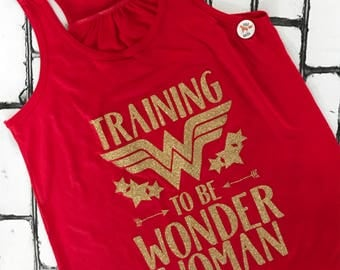 Training to be Wonder Woman tank top - tank top - Wonder Woman - DC comics - comic book shirt - nerdy shirt - Diana of Themyscira - red tank