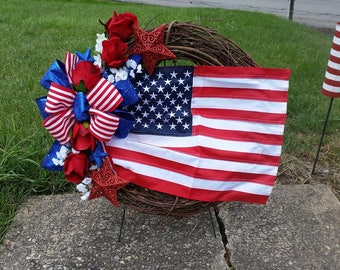 Patriotic Cemetery Wreath with Red Stars