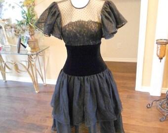 ON SALE NOW 70s Albert Nipon Black Dress / Nipon Swiss Dot Dress / Flutter Sleeve Cocktail Drsss / Size 6