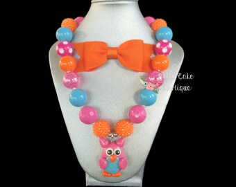 Owl Necklace for First Birthday/Bubble Necklace/Chunky Necklace for Little Girl/Toddler Necklace/Bubble Gum Necklace/Kids Bubblegum Necklace