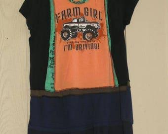 OOAK Bohemian Tunic Dress Boho Top Upcycled Tunic Hippie Shirt Top Medium Farm Girl