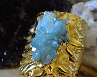 AQUA AURA Gold Melt Cuff  /// Crystal Gemstone Cuff /// 24kt Gold Electroformed